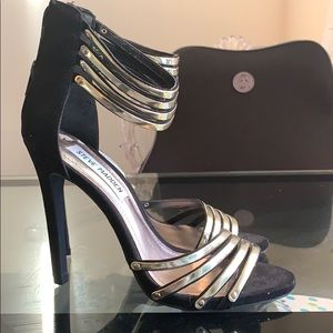 "Steve Madden Black and Gold Strap 4"" Heels"